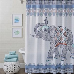 New, Elephant Shower Curtain, Bohemian Theme BH&G